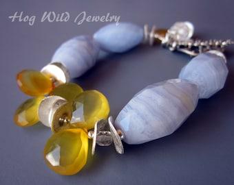 Striped Blue Agate Yellow Quartz Bracelet, Semi Precious Gemstone Bracelet, Yellow, Pale Blue, Sterling Silver, Artisan Bracelets