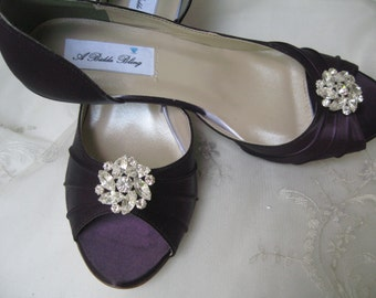 Wedding Shoes - Eggplant Purple - Over 100 Custom Color Choices with Crystal Flower