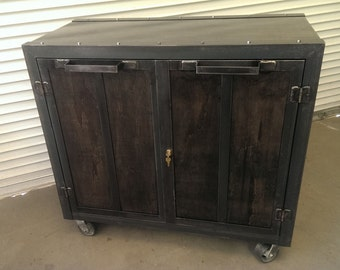 Custom Industrial Office Storage Cabinet #014  •  Industrial Style Furniture by Industrial Evolution Furniture Co.