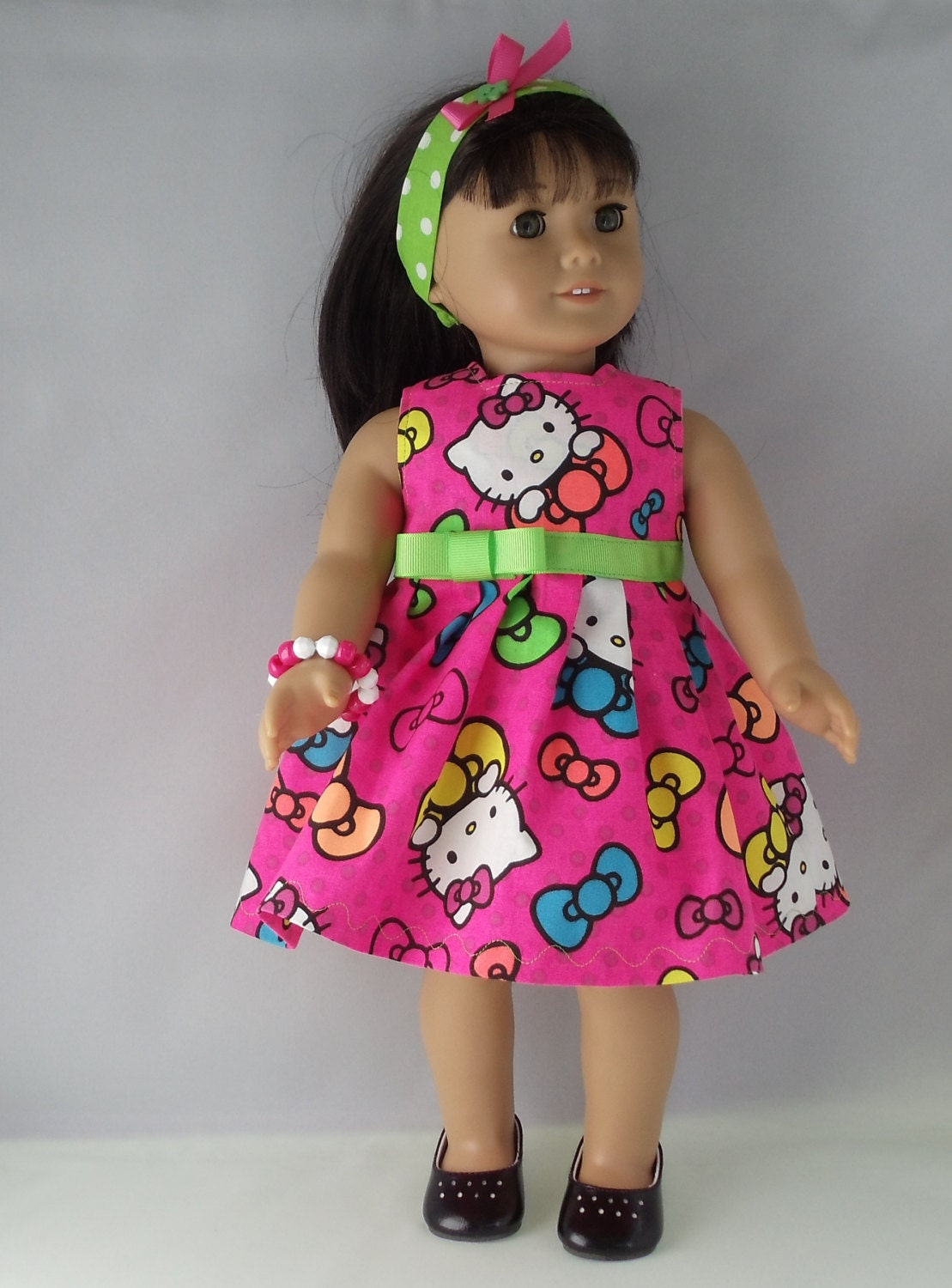 american girl doll purrfect hello kitty neon pink dress fits