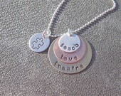 Personalized Teacher Hand Stamped Layered Necklace Teach Love Inspire with Autism Awareness Charm- Teacher Gift -Graduation Gift
