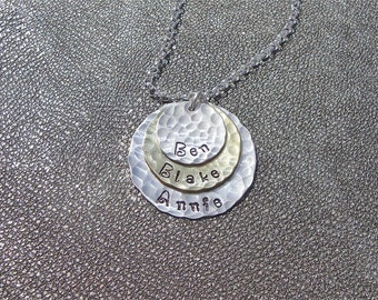 Personalized Three Name Hand Stamped Layered Necklace Sterling Silver and Brass - Gifts for Her - Mother's Day