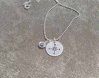 Compass Hand Stamped Sterling Silver Necklace with Birthstone - Gifts for Her - Graduation Gift