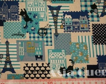 """Cat trip for Paris Eiffel Tower - 2 yards - cotton linen - 4 colors - cat fabric,france,Check out with code """"5YEAR"""" to save 20% off"""