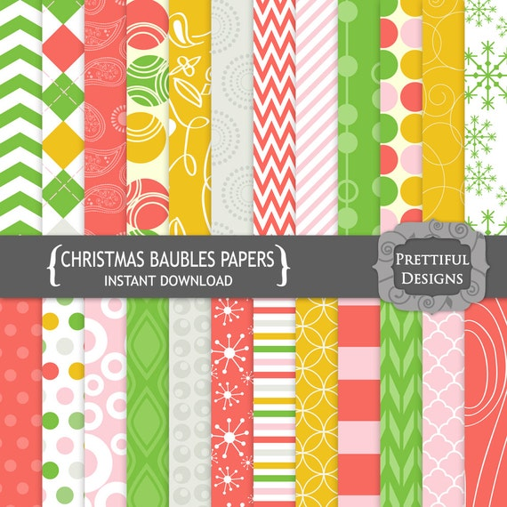 50% off SALE Digital Scrapbooking Papers - Christmas Baubles (768)