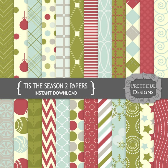 50% Off Sale Digital Paper Pack  for Scrapbooking, Card Making, Invitations - Tis The Season Set 2 (781)