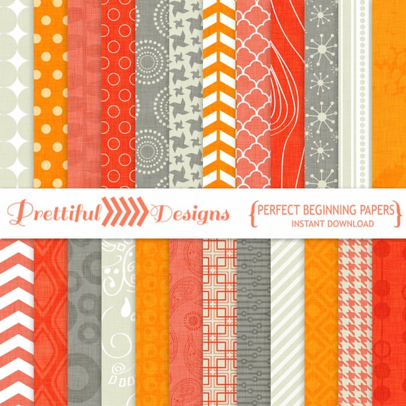 30% OFF SALE Digital Textured Background Paper Coral Orange Gray - Perfect Beginning (804)
