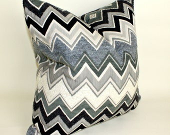 Schumacher Zenyatta Pillow Cover, Cushion Cover, Throw Pillow Chevron