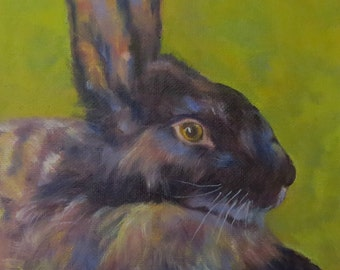 Rabbit bunny animal canvas print Giclee of original oil painting Lucky Peter by Sandra Cutrer Fine Art