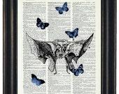 BOGO SALE Dictionary Art Prints HHP Original Design Dictionary Art Print Anatomy Vintage Dictionary Sphenoid Bone and Blue Butterflies