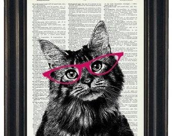 BOGO 1/2 OFF Dictionary Print Cat Print Art Upcycled Art Dictionary Page Print Cat with Pink Glasses Dictionary Art HHP Original