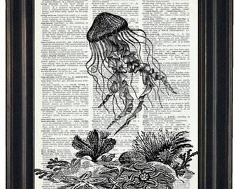 BOGO SALE Sea Life Art Print Ocean Art Print Dictionary Art Print Jelly Fish Art Print Upcycled Wall Art A HHP Original Design 8 x 10