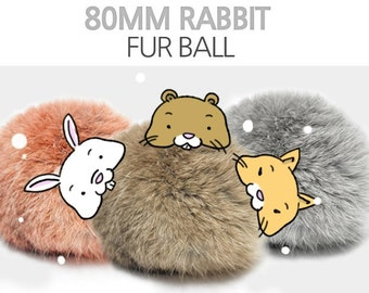 1 PCS 3'' Real Rabbit Fur Ball - Pick Your Colors - 4 Different Colors