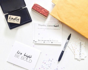 custom stamp: for address, logo, business card, packaging, hangtags, 1-3 inches