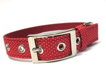 Dog Collar- Red Pin Dots