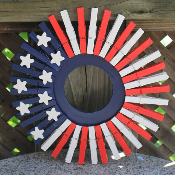 4th of July Door Decor Red White Blue Wooden Clothespin Wreath