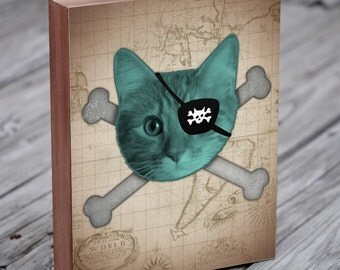 Pirate Decor - Pirate Cat - Wood Block Art Print