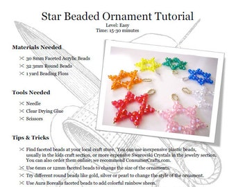 Star Beaded Ornament Tutorial: PDF Download