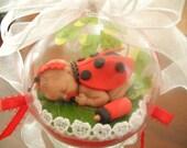 Baby's First Christmas Ornament- Girl - LADYBUG-OOAK