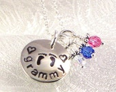 Grammy or Grandma Necklace with Baby Feet and Hearts - Jewelry for Grandmother with Grandkids