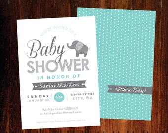 Elephant Baby Shower invitation - set of 12