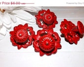 FALL SALE Red /Shabby Chic Cast Iron Knob /Dresser Knob / Drawer Knob / Cabinet Pull / Decorative Knob