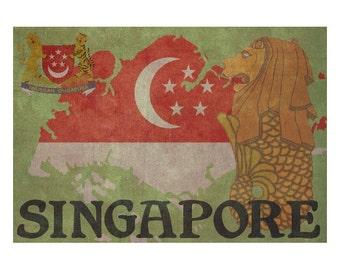 SINGAPORE 1FS- Handmade Leather Journal / Sketchbook - Travel Art