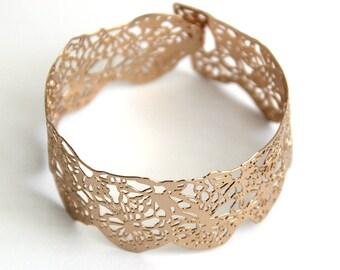 rose gold bracelet,lace bracelet, dainty Gold cuff, delicate gold bracelet, Lace crochet Bracelet
