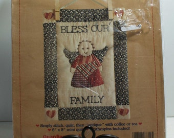 Bless Our Family Mini Quilt Kit 6 x 8 by Stitchables Antiqued Quilts #7819 NIP