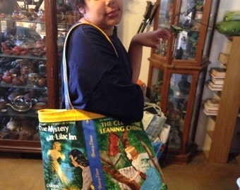 Book bag made with licensed Nancy Drew fabrics