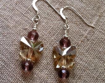 Butterfly Earrings- Swarovski Crystal Butterfly, Amethyst and Sterling Silver Dangle Earrings