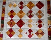 Primitive Quilted Table Topper, Table Runner, Fall Autumn Harvest, Scrappy Patchwork Runner, Postage Stamp Quilt