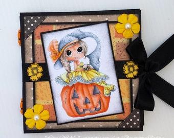 Post It Note Holder - Halloween Witch & Pumpkin