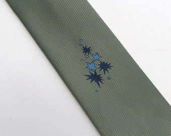 Vintage 50s 60s Skinny Tie Necktie Greenish Gray or Olive with a Blue Star Burst Design