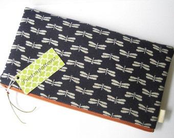 Japanese Dragonflies in Indigo. Japanese kimono fabric. Minimalist. Zen. Fabric Pouch.