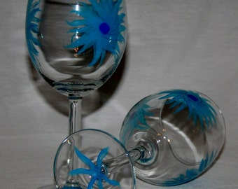 blue flowers wineglass hand painted