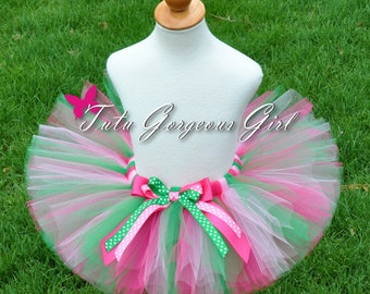 Strawberry Tutu...Hot Pink Green Tutu...Halloween Strawberry Costume...First Birthday Tutu...Newborn to Adult Tutu Sizes...STRAWBERRY CUTIE