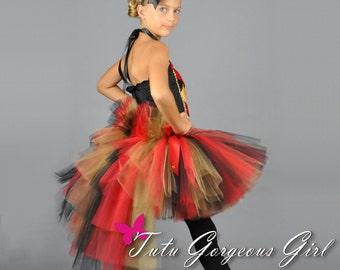 Halloween Circus Ringmaster Bustle Tutu...Red Gold Black Bustle Tutu for girls...Halloween Ring Master Costume, Pageant Tutu