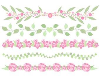 Flower border clipart Flower border clip art Digital flower border Floral border clipart Commercial use Digital flower clipart clip art
