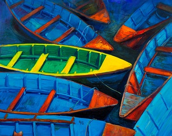 Original Marine Painting on Canvas-Boats 21x21- Modern Impressionism Style, Landscape Painting Original Art on Canvas by Ivailo Nikolov