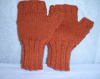 Adult Fingerless Gloves for me hand knit with rust color yarn.  Winter gloves to fit mens large to extra large hands