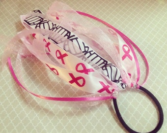 Breast Cancer Pink Awareness Ribbon Ponytail Streamers: Choose Your SPORT, Soccer, Volleyball, Football, LaCrosse, Tennis, Basketball