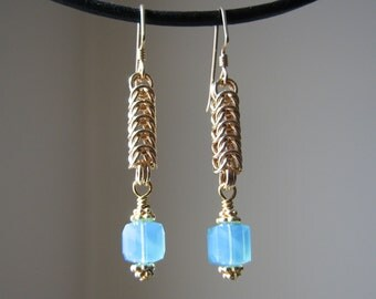 Gold Chainmaille Earrings -Queen's (Box) Weave- with Caribbean Blue Swarovski Crystal Cube Dangles