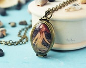 Mermaid locket necklace - vintage necklace, resin jewelry, gift for her girl, four photos long chain brass, history print - made to order