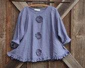 Reserved for Ellen linen top Romance flare design in thistle dusty lavender with roses ready to ship