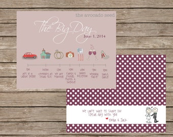 Adorable Icon Wedding Timeline Cards - DIY Printing or Professional Prints