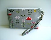 Wristlet. Clutch. Pouch. Travel Bag.  Bridal Gift. Cotton Fabric. Detachable Wrist. Made To Order.