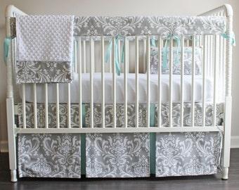 Gray & Blue Mist Damask Crib Rail Bedding set.