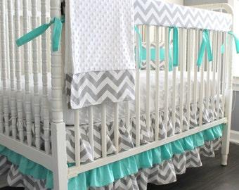 Custom Crib bedding. Gray Chevron Aqua blue Bumperless Crib Rail Bedding Set