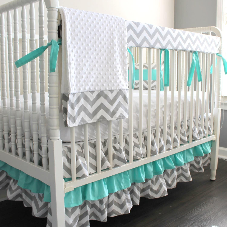 Custom Crib Bedding Gray Chevron Aqua Blue Bumperless Crib